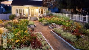 award winning front yard path and garden with picket fence