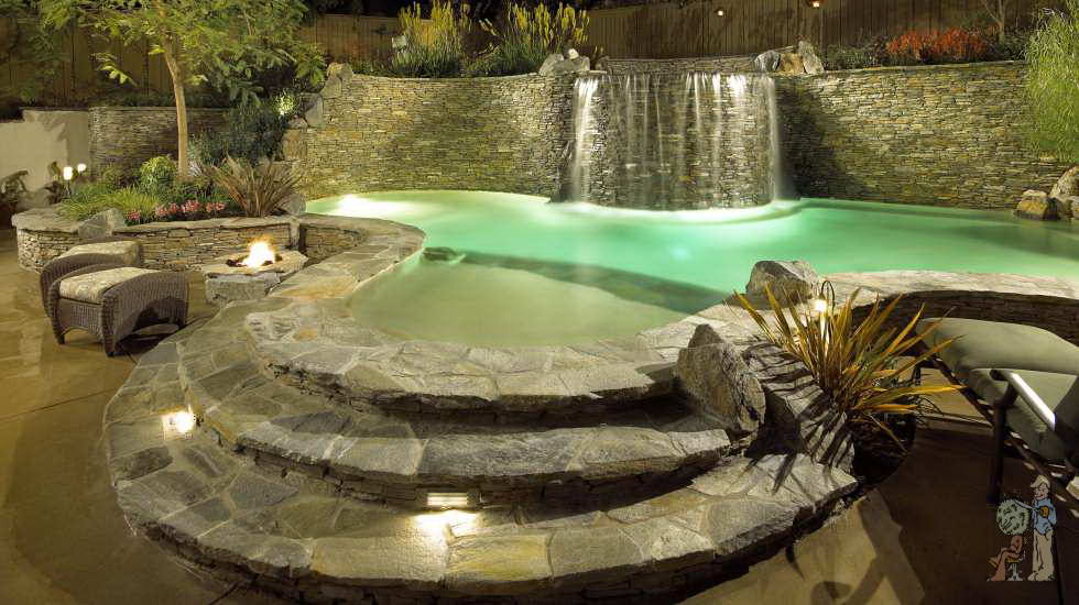 Pool with five foot raised bond beam and stacked stone in Monrovia