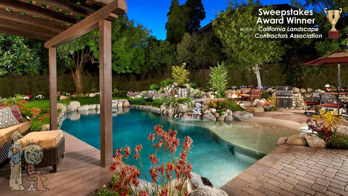 Swim up deck and waterfall in rock pool - sweepstakes award winner