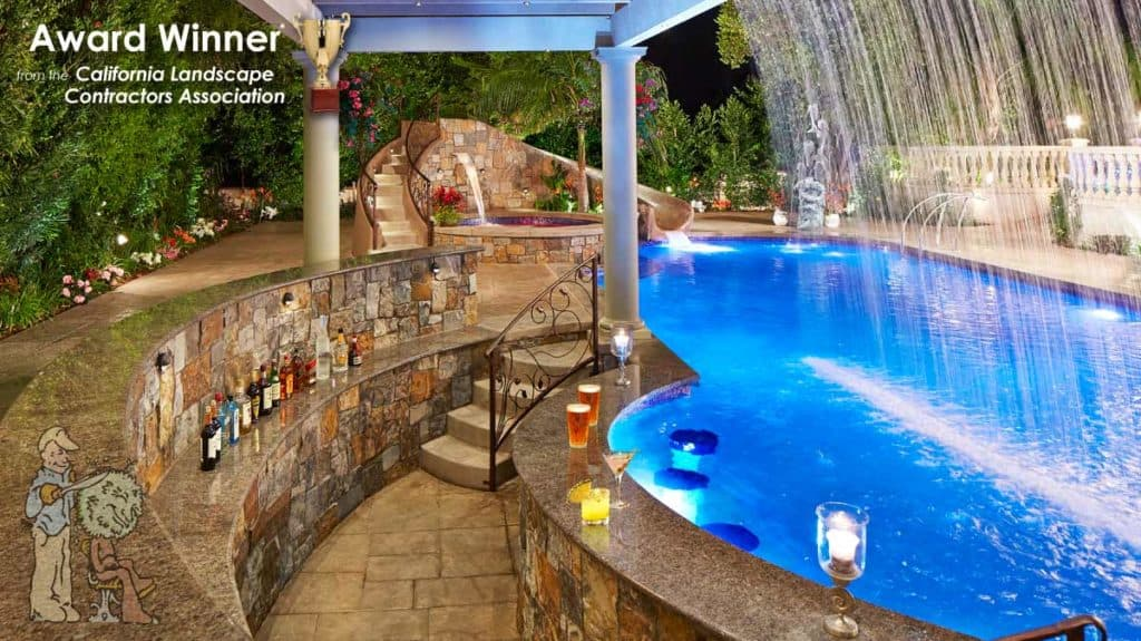 Swim up pool bar and arbor waterfall