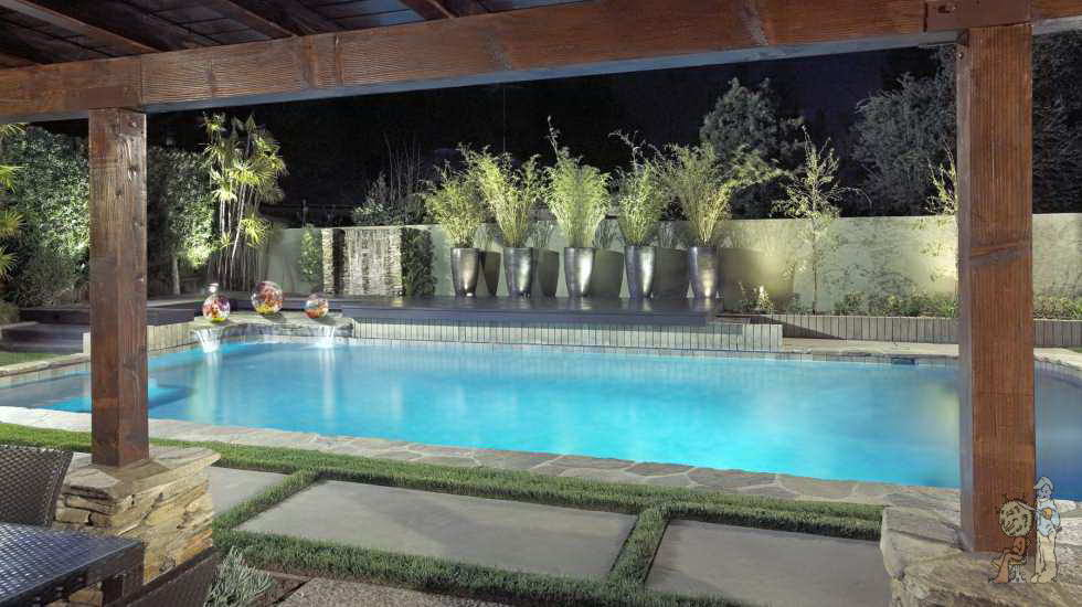 Swimming pool with covered Lanai in Arcadia, CA