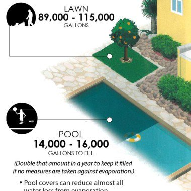 pool and a lawn side by side water use